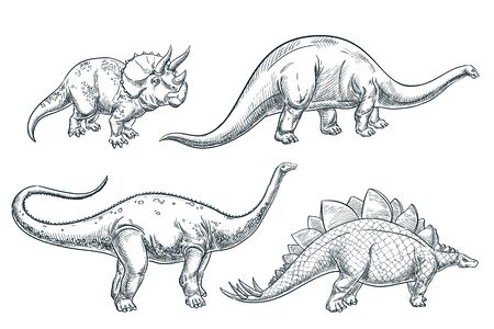 Dinosaur set, isolated on white background. Vector hand drawn sketch illustration. Dino collection, print design elements. Foto de archivo - 131887315