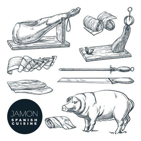 Jamon de porc ibérique délicieux et outils de coupe. Croquis illustration vectorielle de la cuisine gastronomique espagnole. Éléments de conception isolés de la charcuterie dessinés à la main. Vecteurs