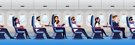 Airplane interior with traveling passengers, seamless horizontal background. People travel by plane in economy class. Vector flat cartoon illustration. Illustration