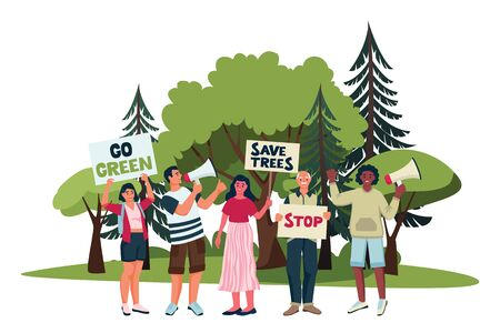 Environmental activists campaign against deforestation. Vector flat cartoon illustration of protesting eco-activists with posters on demonstration. Saving forests and trees eco concept. Çizim