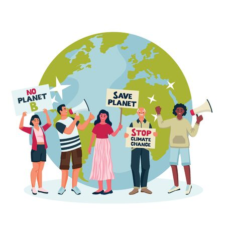 Environmental activists draw attention to climate change. Vector flat cartoon illustration of protesting Eco-activists with posters on demonstration. Saving Earth planet, ecology concept.