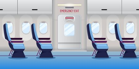 Airplane inside. Empty plane interior with emergency exit door. Vector flat cartoon illustration. Safety aircraft flight concept. Foto de archivo - 132103184