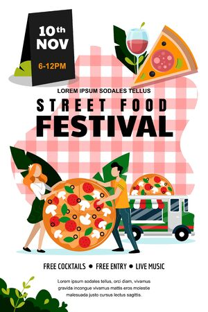 Street food outdoor festival poster or banner design template. Vector flat cartoon illustration. Italian food truck and young couple with large pizza on red checkered tablecloth background.