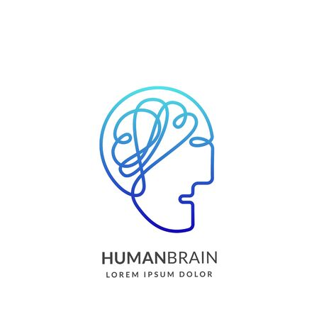 Human head and brain sign or emblem design template, isolated on white background. Abstract continuous line creative idea vector icon. Concept for education technologies and business innovations Illustration