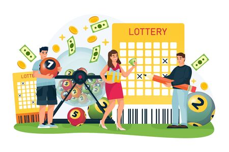 Happy people win money in bingo lottery. Vector flat cartoon illustration for casino or gambling games. Man and woman cross out numbers in lottery ticket and hold balls with numbers. Foto de archivo - 132360908