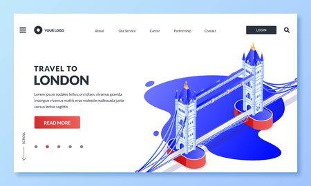 Travel to London, United Kingdom of Great Britain. Vector 3d isometric illustration of Tower Bridge. Web landing page, banner, poster design. Tourism website or trip application concept. Foto de archivo - 132361025