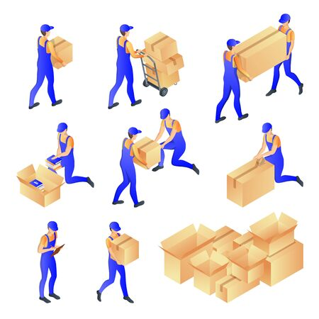 Men in courier uniforms pack and carry cardboard mail boxes. Vector 3d isometric illustration. People workers of moving, postal or delivery service, isolated icons. Foto de archivo - 132361228
