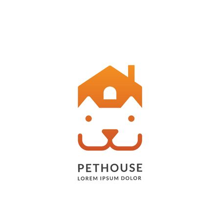 House and car head in negative space  sign or emblem design template, isolated on white background. Pet shop, center or pet friendly place concept. Vector abstract illustration. Foto de archivo - 132932854