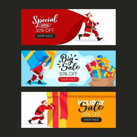 Christmas or New Year poster set with Santa Claus, large sack and gift boxes. Vector flat cartoon illustration. Holiday sale banner design template with hand drawn calligraphy lettering