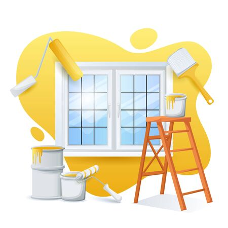 Renovation and painting house concept. Vector flat cartoon illustration. Ladder, paint cans, roller, paintbrush on yellow color painted wall background. Works of home repair. Foto de archivo - 132932853