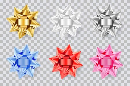 Holiday gift decoration. Realistic 3d round bow ribbons set. Vector design elements. Golden, red, white, silver, blue, pink bows, isolated on transparent background. Foto de archivo - 132932857