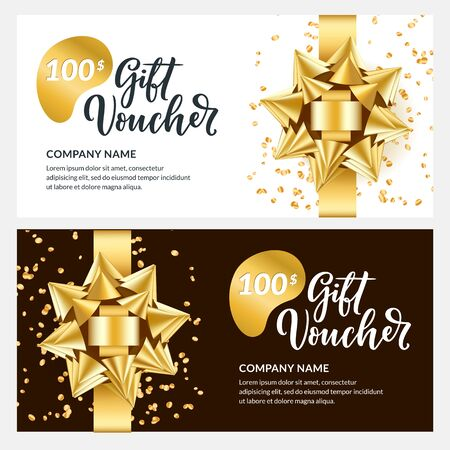 Gift card, voucher, certificate for Christmas, New Year, Birthday. Realistic 3d illustration of present with gold round bow ribbon. Holiday black and white banner vector design template. Foto de archivo - 132932859