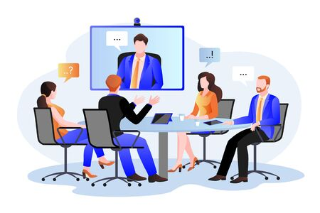 Business team at the video conference call in boardroom. Vector flat cartoon illustration. Online meeting with CEO, manager or director. Consulting and training concept. Foto de archivo - 132975941