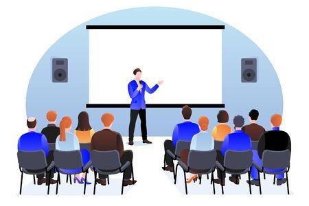 Gruppo di persone al seminario, presentazione o conferenza. Piatto del fumetto di vettore. Speaker coach professionista parla al pubblico. Formazione aziendale, coaching e concetto di istruzione.