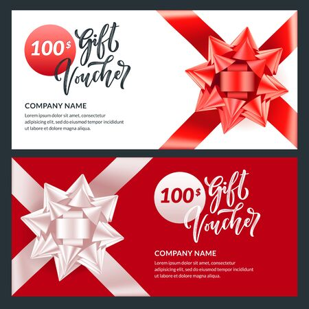 Gift card, voucher, certificate for Christmas, New Year, Birthday. Realistic 3d illustration of present with red and white round bow ribbon. Holiday banner vector design template. Foto de archivo - 132975954