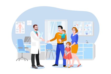 Family doctor with patients in hospital office. Vector flat cartoon illustration. Medical consultation of therapist or pediatrician in clinic. Healthcare concept. Foto de archivo - 133112331