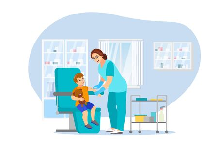 Vaccination and immunization, vector flat cartoon illustration. Female pediatrician doctor gives child vaccine injection. Healthcare and infection prevention concept. Foto de archivo - 133113754