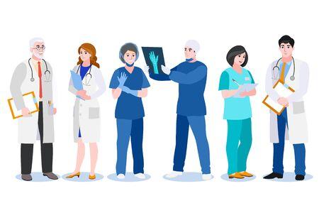 Uomini e donne medici, chirurgo e infermiere isolati su sfondo bianco. Piatto del fumetto di vettore. Set di caratteri di persone del team medico. Personale ospedaliero professionale in uniforme.