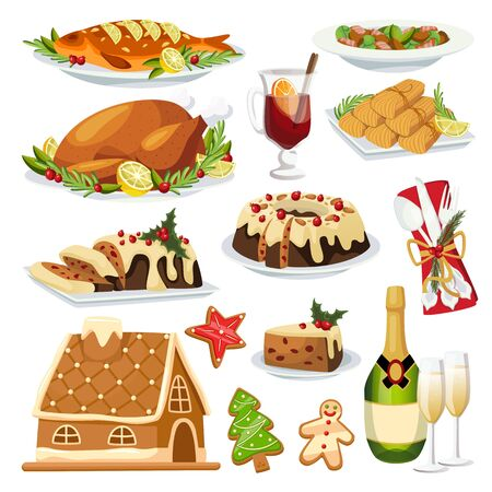 Christmas and New Year holiday menu design elements. Vector flat cartoon illustration. Traditional holiday home made meal. Roasted turkey, gingerbread, stollen cake and champagne. Foto de archivo - 133112141