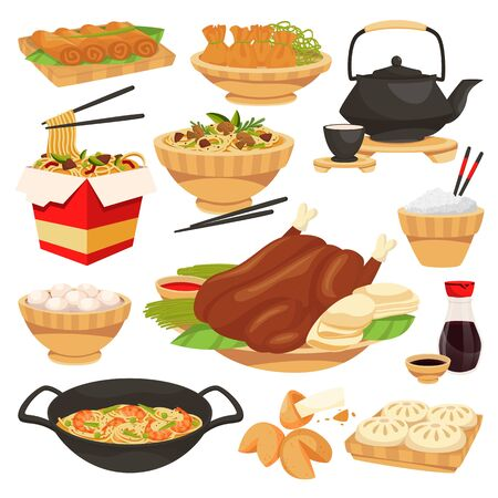 Chinese traditional holiday food dishes. Vector flat cartoon illustration. Set of isolated china cuisine meal. Asian restaurant or cafe menu design elements. Ilustracja