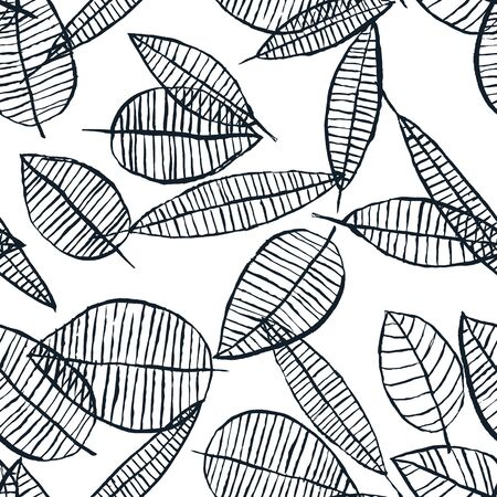 Autumn black white watercolor leaves seamless pattern. Vector hand drawn ink doodle illustration. Trendy scandinavian wallpaper background design. Fashion textile or packaging print. Ilustracja