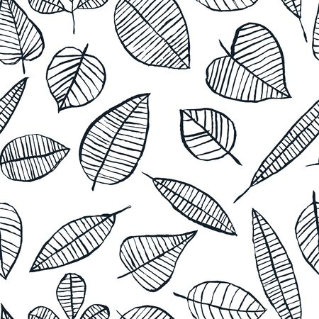 Autumn black white watercolor leaves seamless pattern. Doodle scandinavian trendy design for fashion textile print, packaging, wallpaper or background. Vector hand drawn ink illustration.