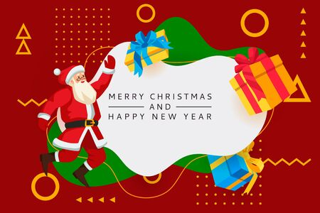 Merry Christmas, Happy New Year poster, banner abstract white frame. Vector flat cartoon illustration of jumping Santa Claus and multicolor gift boxes. Holiday greeting card design template Foto de archivo - 133112609