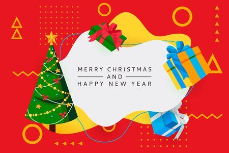 Merry Christmas, Happy New Year poster, banner abstract white frame. Vector flat cartoon illustration of decorated Christmas tree and multicolor gift boxes. Holiday greeting card design template