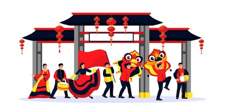 Celebrating Chinese Lunar New Year. Vector flat cartoon illustration of happy dancing people with red flag, dragon masks. Holiday performance parade in china town. Traditional holidays design elements