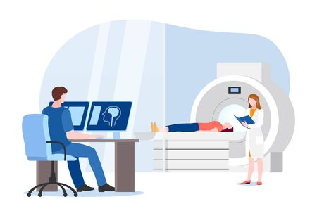 Doctor and nurse prepare for magnetic resonance imaging scan of patient. Vector flat cartoon illustration of hospital lab equipment. MRI medical modern diagnostic concept. Foto de archivo - 133154607