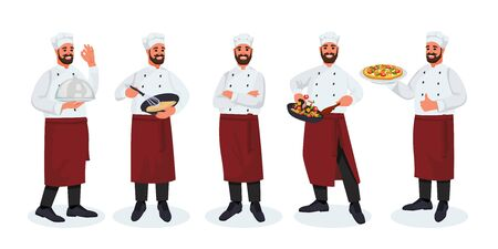 Chef with mustache and beard in different poses, on white background. Vector flat illustration. Cooking man cartoon character in hat and uniform. Menu or culinary school isolated design elements