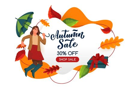 Fall season sale poster, banner design template. Vector flat cartoon illustration of jumping woman with umbrella and multicolor leaves. Autumn abstract white frame background. Ilustracja