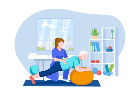 Physiotherapist or rehabilitologist doctor rehabilitates elderly patient. Senior woman doing exercises on fitball. Vector flat cartoon illustration. Physiotherapy rehab, injury recovery concept.