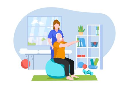 Physiotherapist or rehabilitologist doctor rehabilitates elderly patient. Physiotherapy rehab, injury recovery concept. Vector flat cartoon illustration. Banco de Imagens - 135702878