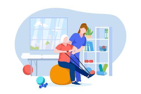 Fizjoterapeuta lub lekarz rehabilitolog prowadzi rehabilitację starszego pacjenta. Ilustracja kreskówka płaski wektor fizjoterapii rehabilitacji i odzyskiwania kontuzji. Starsza kobieta robi ćwiczenia na fitball. Ilustracje wektorowe