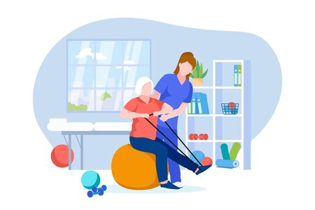 Physiotherapist or rehabilitologist doctor rehabilitates elderly patient. Vector flat cartoon illustration of physiotherapy rehab and injury recovery. Senior woman doing exercises on fitball.