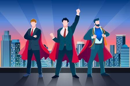 Businessmen in red superhero cloaks and suits on building roof. Vector business metaphor illustration. Concept of success teamwork, leadership. Abstract characters of manager or team leader.