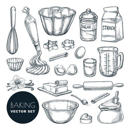 Ingredientes y herramientas para hornear. Vector ilustración de boceto dibujado a mano. Conjunto de elementos de diseño de recetas y cocina, aislado sobre fondo blanco. Utensilios de cocina para repostería.