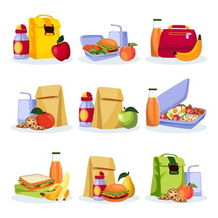 Kids school healthy lunch and snacks. Vector flat cartoon illustration. Lunchboxes with home made meal, apple, banan and drinks. Food icons isolated on white background.