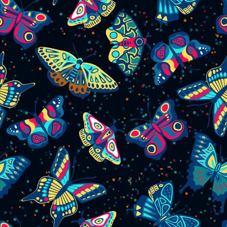 Colorful cute butterflies collection on black background. Vector seamless navy pattern. Cartoon kids textile print design. Tropical multicolor insects flat illustration.
