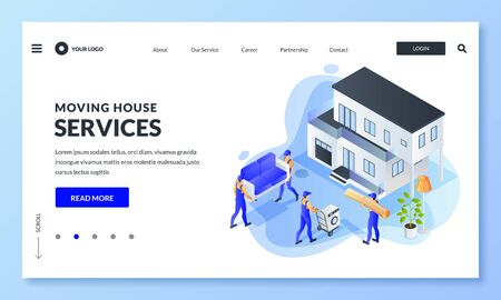 Moving service banner design template. Workers carry furniture and household appliances to house. Vector 3d isometric illustration. Move home, relocation or delivery concept.