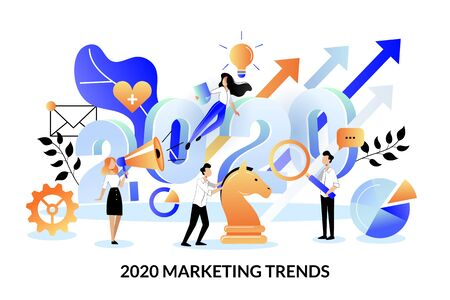 Digital marketing trends, strategy and business plan for 2020 new year. Vector flat cartoon illustration for web landing page banner or poster design template. Expectation and perspective concept. Ilustracja