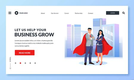 Businessman and businesswoman in red superhero cloaks against cityscape. Vector business illustration for web landing page, banner, poster design. Concept of achievement, leadership, successful career Ilustracja