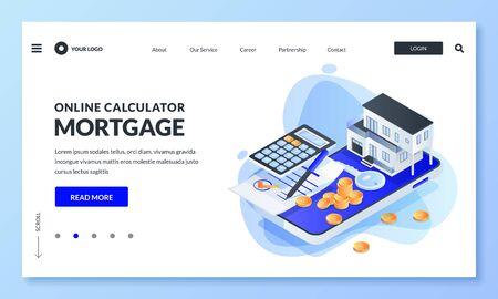 Online-App für Hypothekenrechner. Vektor isometrische 3D-Darstellung. Konzept des Immobiliendarlehens, Immobilieninvestitionen. Web-Landingpage, Banner, Anwendungsdesign. Haussymbole kaufen oder mieten Vektorgrafik
