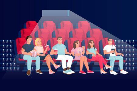 Przyjaciele oglądają film komediowy w kinie i jedzą popcorn. Ilustracja wektorowa kreskówka płaski. Ludzie siedzący w fotelach w sali teatralnej.