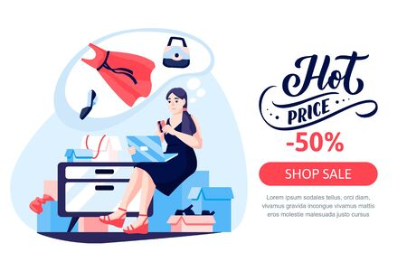 Girl shopaholic sits on pile of mailboxes and pays for purchases in online store of womens fashion clothes. Vector flat cartoon illustration. Seasonal sale poster, banner design template.