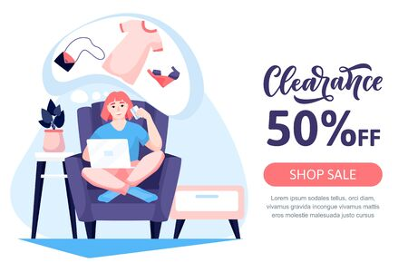 Happy young women try on dresses and shoes in clothing boutique. Vector flat cartoon illustration of fashion store interior. Seasonal sale in shop or mall. Ilustracja