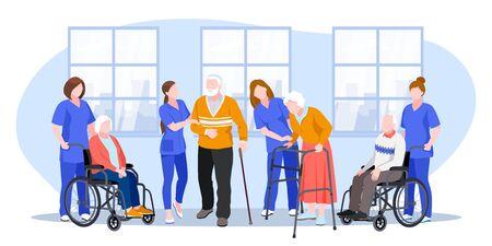 Infermiera che si prende cura degli anziani in ospedale. Piatto del fumetto di vettore. I medici aiutano gli anziani a camminare e andare in sedia a rotelle. Vettoriali