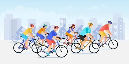 City bicycle sport marathon. Vector flat cartoon bike race illustration. Colorful cyclist people against urban landscape background. Outdoor sports competition and healthy lifestyle concept.