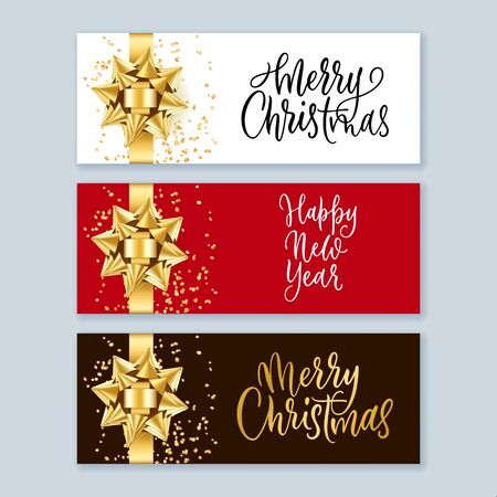 Merry Christmas and Happy New Year banner set with realistic 3d gold round bow ribbon and hand drawn calligraphy lettering. Winter holiday gift background. Vector illustration. Ilustracja